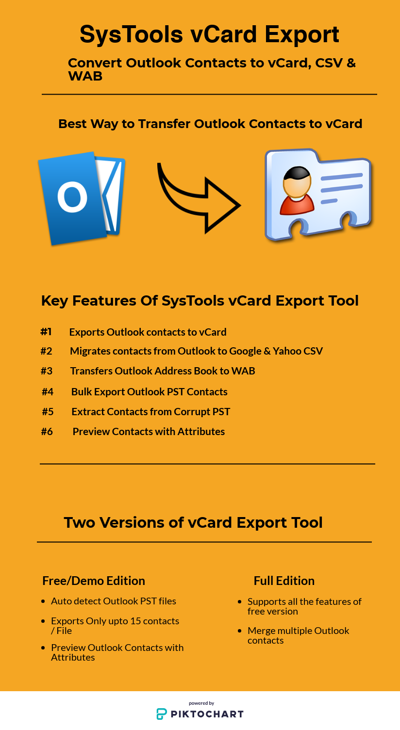 SysTools vCard Export Tool : Convert Outlook Contacts to VCF, WAB & CSV