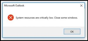 System Resources are Critically Low close some windows