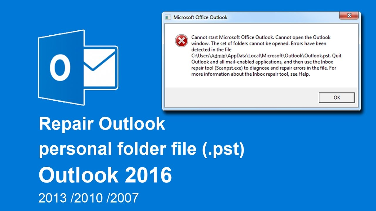 how to repair corrupted pst file in outlook 2016  2013